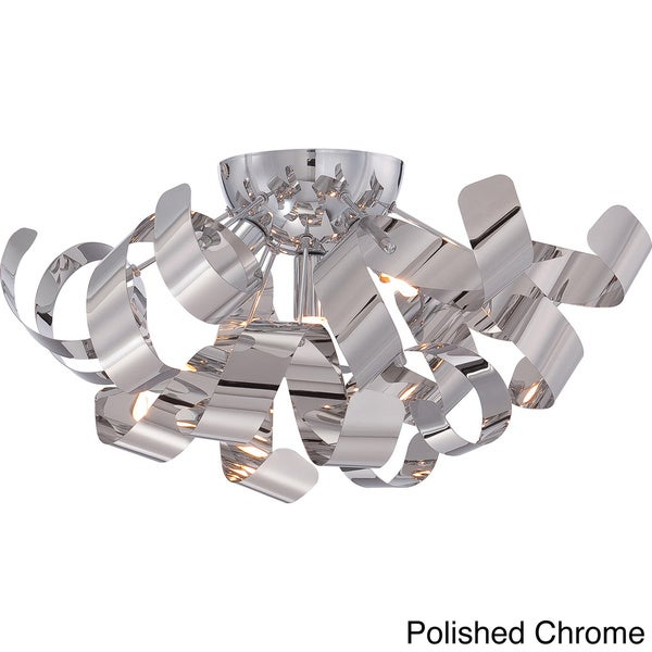 Platinum collection ribbons 4 light polished chrome large flush mount 16573250 Home decorators collection 4 light chrome flush mount
