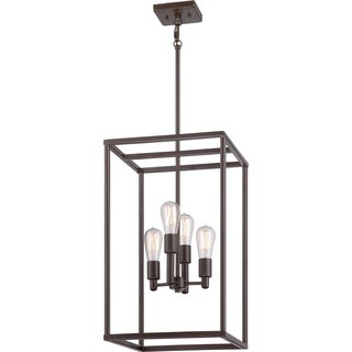 Quoizel 'New Harbor' 4-light Western Bronze Cage Chandelier