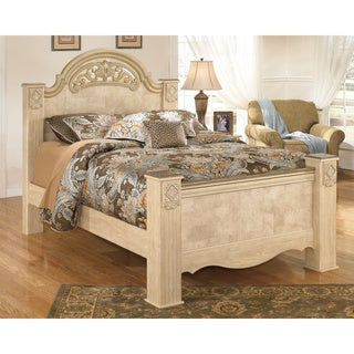 Signature Design by Ashley Saveaha Light Beige Poster Bed