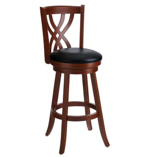 Casa Cortes Mahogany Solid Wood Swivel Bar Stool