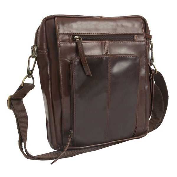 Uptown Brown Lightweight Leather Media Crossbody Bag