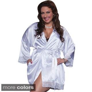 Seven Til Midnight Women's Plus Size Shiny Satin Robe