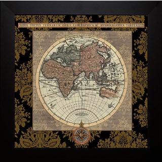Elizabeth Medley 'Damask on Black Map I' Framed Artwork