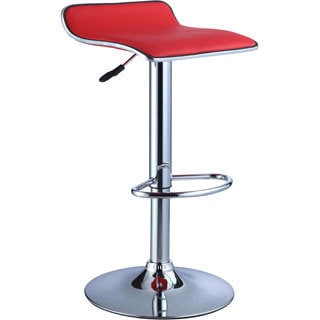Powell Red Leatherette and Chrome Thin-seat Adjustable Bar Stool (Set of 2)