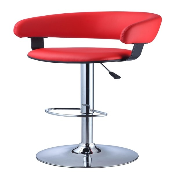 Powell Red Faux Leather Barrel and Chrome Adjustable Height Bar Stool