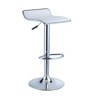 Powell White Leatherette and Chrome Thin-seat Adjustable Bar Stool (Set of 2)