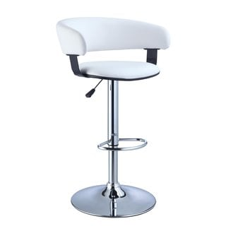 Powell White Faux Leather Barrel and Chrome Adjustable Height Bar Stool