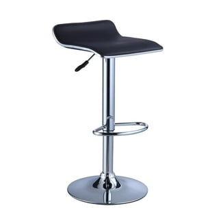 Powell Black Leatherette and Chrome Thin-seat Adjustable Bar Stool (Set of 2)