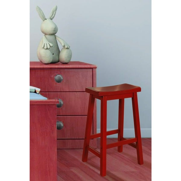 Powell Red Wooden Saddle Bar Stool