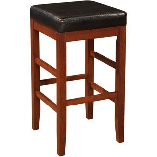 Powell Black Bonded Leather and Cherry Backless Bar Stool