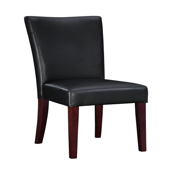 Oh Home Marietta Black Bonded Leather Parsons Chair