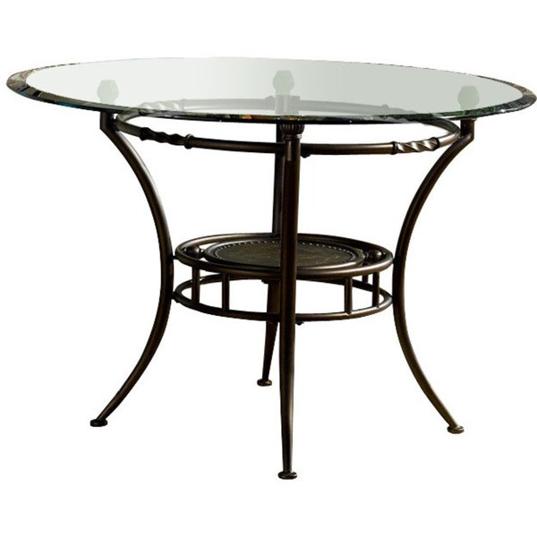 Powell Basil Antique Brown Steel Dining Table Pedestal Glass Top Sold
