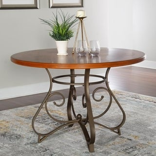 Powell Hamilton Medium Cherry Finish and Scrolled Metal Dining Table