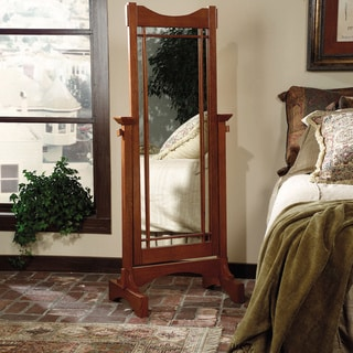 Powell Mission Oak Finished Cheval Mirror