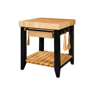Powell 'Color Story' Black Butcher Block Kitchen Island
