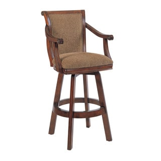 Powell Brandon Warm Cherry Upholstered Swivel Bar Stool