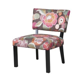 Powell Pink and Brown Floral Accent Chair