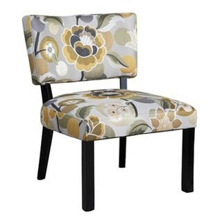Powell Yellow and Grey Floral Accent Chair