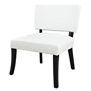 Powell White Leatherette Accent Chair
