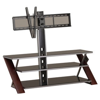 Powell Silvertone Tempered Glass and Wood 44-inch TV Stand with Bracket