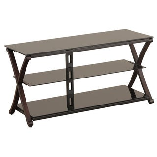 Powell Black Tempered Glass 48-inch TV Stand without Bracket