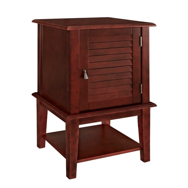 Powell Red Shutter-door Accent Table