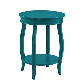 Powell Teal Round Table with Shelf