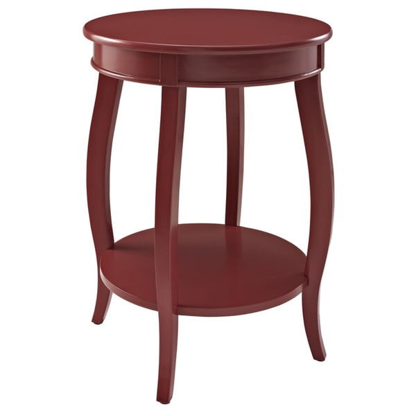 Powell Red Round Table with Shelf
