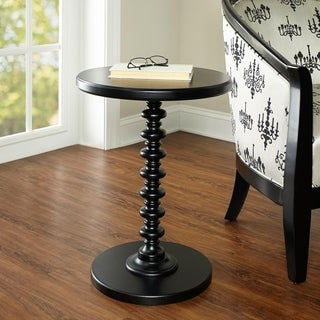 Powell Black Round Spindle Table