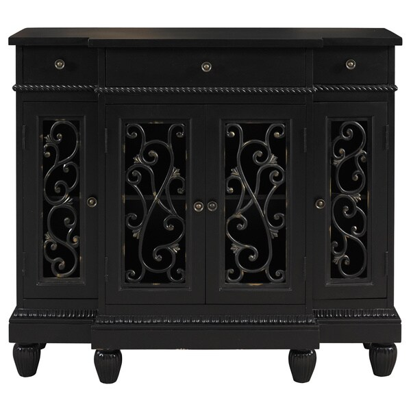 Oh! Home Black Rub-through Breakfront Console