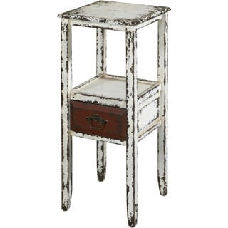 Powell Parcel White Distressed 1-drawer Accent Table
