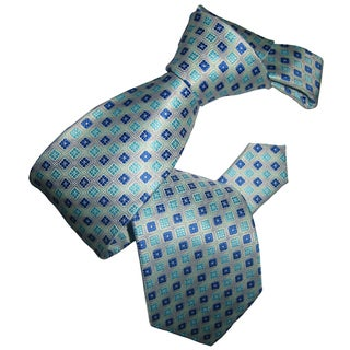 Dmitry Men's Blue and Teal Patterned Italian Silk Tie