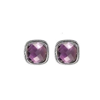 Sterling Silver Bali Faceted Square Amethyst Rope Detail Omega Clasp Earrings (Indonesia)