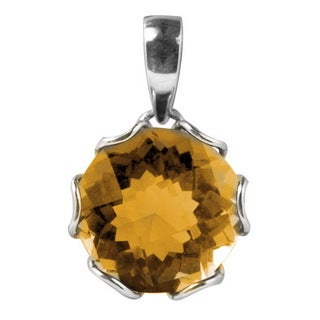 Sterling Silver Round Basket Setting Citrine Pendant (Indonesia)