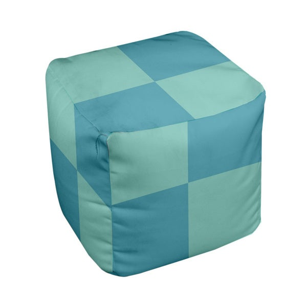 18 x 18-inch Aqua/ Bahama Large Check Decorative Pouf