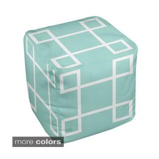 13 x 13-inch Two-tone Five-square Geometric Decorative Pouf