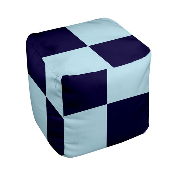 18 x 18-inch Navy/ Omar Large Check Decorative Pouf