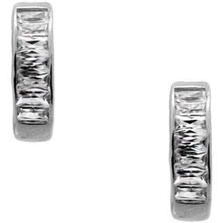 Sterling Silver Baguette-cut Cubic Zirconia Hoop Earrings