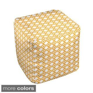 18 x 18 -inch Two-tone Micro Geometric Print Decorative Pouf