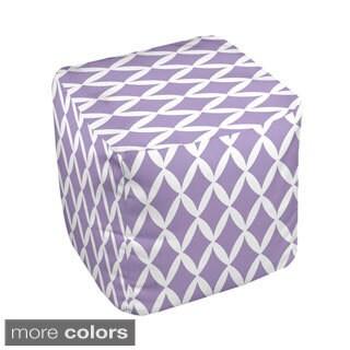 18 x 18-inch Purple Two-tone Trellis Print Decorative Pouf