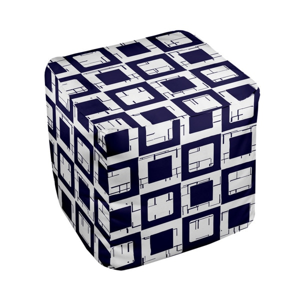 18 x 18-inch Spring Navy/ White Multi Box Print Decorative Pouf