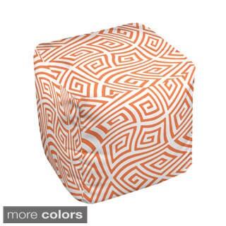18 x 18-inch Two-tone Greek Key Swirl Print Decorative Pouf