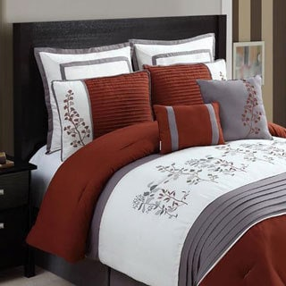 Alexandra Rust/Grey Floral 8-piece Comforter Set