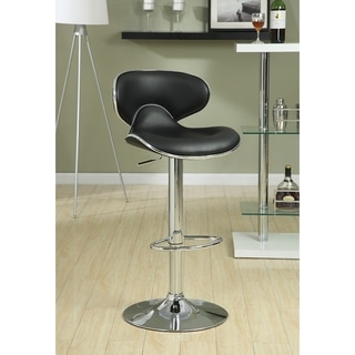 Contemporary Black Leatherette Adjustable Chrome Bar Stool