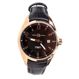 Officina Del Tempo Men's Elegance Black Leather Watch