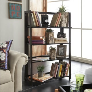 Canted 4-shelf Bookcase in Rich Macchiata