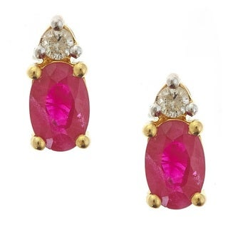 Anika and August 14k Yellow Gold Thai Ruby White Diamond Accent Earrings