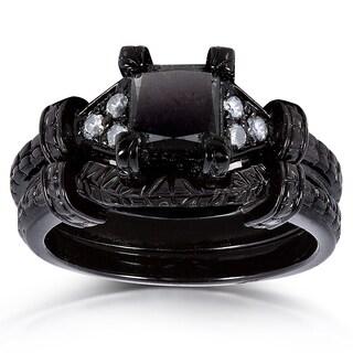Annello 14k Black Ceramic Coated Gold 1 1/8ct TDW Black and White Diamond Bridal Ring Set (G-H, I1-I2)