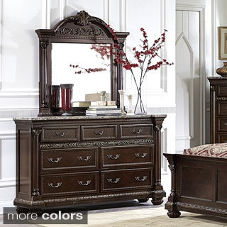Roxbury Faux Marble Top 7-drawer Dresser and Mirror