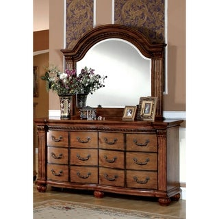 Furniture of America Hesperia Traditional Style 2-Piece Dresser and Mirror Set